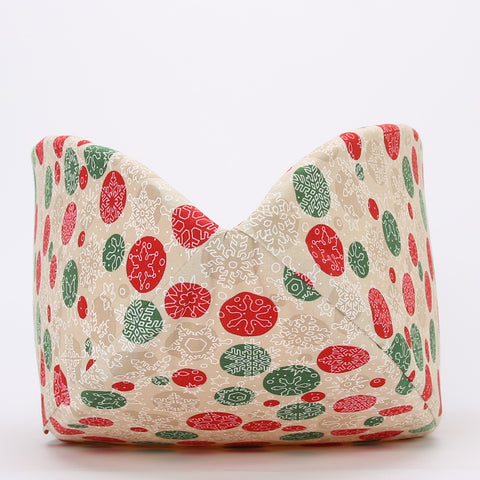 Christmas Snowflake Fabric Cat Bed in Neutral Colors - the Cat Canoe