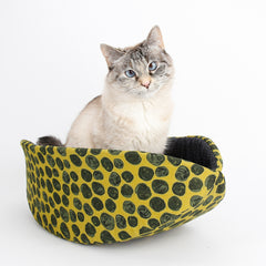 Cat Canoe modern cat bed mustard yellow and black polka dots