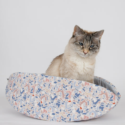 Cat Canoe modern pet bed in cute woodlands animals fabric