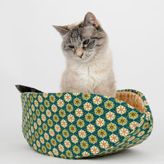 Cat Canoe nest style pet bed made in a green flower tile fabric
