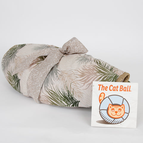 Cat Ball pod style pet bed in neutral feather fabric