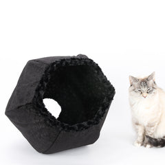 The Cat Ball in black velvet and fur with snowflake lining, a perfect cat bed for Christmas and winter