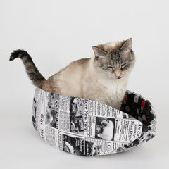 Cat Canoe modern pet bed made in funny cat newsprint fabric, the Daily Mews