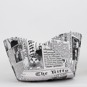 Cat Canoe pet bed made in funny newsprint fabric