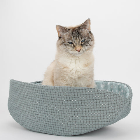 Cat Canoe - Winter Snowflake and Teal Plaid Cat Bed