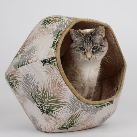 The CAT BALL pet bed made in neutral colors feather fabric