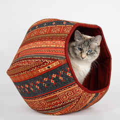 Cat Ball cave bed for cats in multi color kilim fabric print