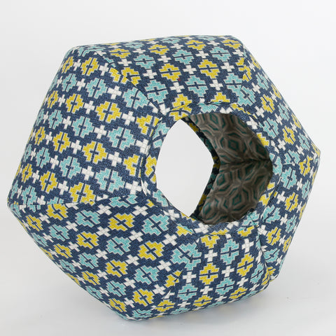 Cat Ball cozy pet bed in a navy, turquoise and chartreuse geometric pattern