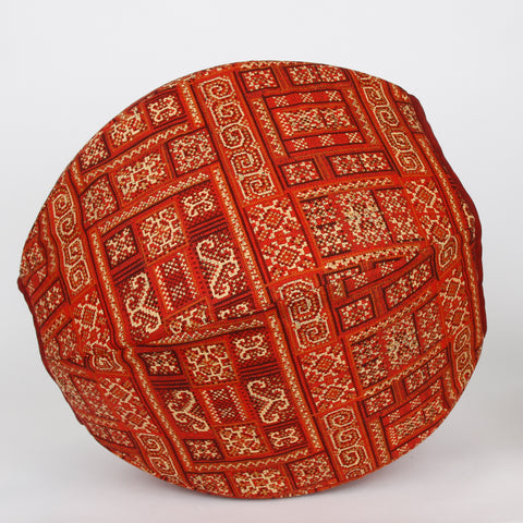 Cat Ball cave bed for cats in cayenne red and gold kilim fabric print