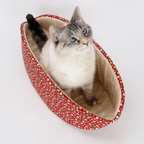 Cat Canoe holiday theme cat bed in red and gold metallic Christmas fabrics