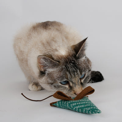 Mouse shaped catnip toy made from scrap fabric and foam