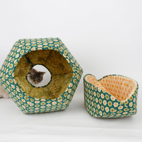 Coordinating Cat Canoe and Cat Ball made in green tile flower fabrics
