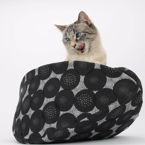 Bed for Large Cats - Jumbo Cat Canoe in Black and Grey Geometric Circles Fabric