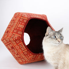 Jumbo size Cat Ball modern cat bed for large cats, made in exotic cayenne red fabric