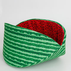 Our jumbo size Cat Canoe® in realistic watermelon fabrics was designed for cats weighing 18 pounds or more.