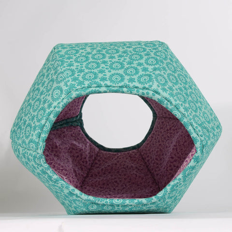 Mini Cat Ball Cat Bed in Teal and Purple