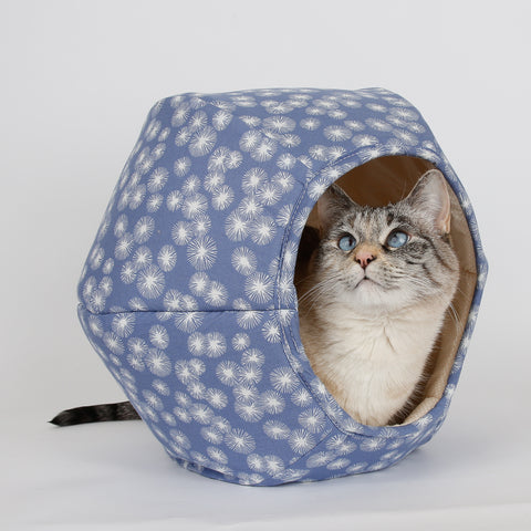 Mini Cat Ball Cat Bed in chambray blue dandelion flowers