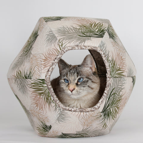 Cat Ball cave bed for cats made in neutral feather fabric