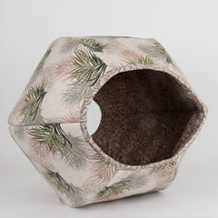 Jumbo size Cat Ball modern kitty bed in neutral colors feather fabric