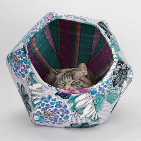 Cat Ball cat cave bed in large floral print