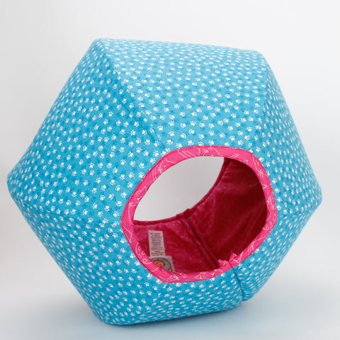 Cat Ball pod style cat bed in capri blue and deep pink paw print fabric
