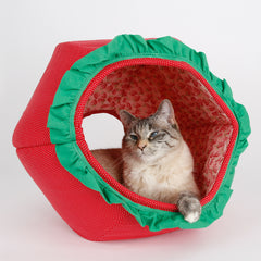 This novelty Cat Ball® cat bed looks like a strawberry. Our cute fruit pet bed is a perfect place to take funny cat photos