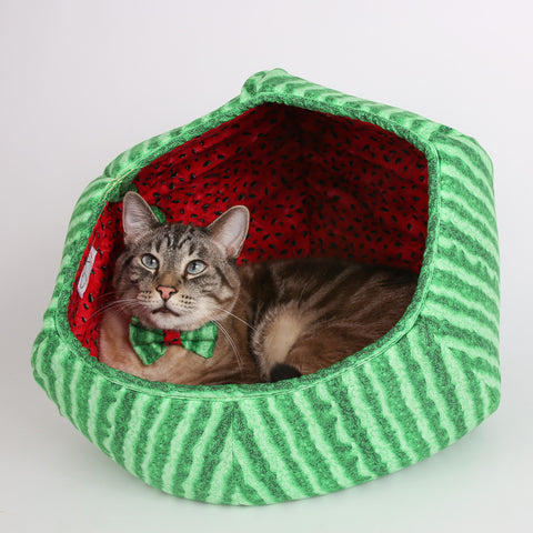 The Cat Ball watermelon fabric cat cave modern pet bed