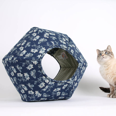 This CAT BALL cat bed is made in blue butterfly fabric and is part of a collection