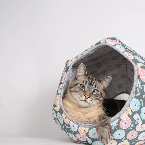 Abstract Fall Flower Cat Ball cat bed