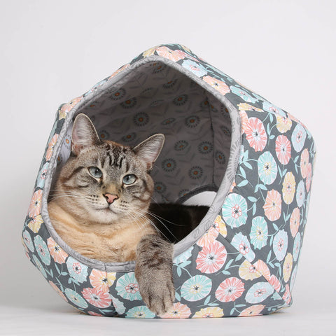 Abstract Fall Flower Cat Ball cat bed in Grey, Turquoise and Coral