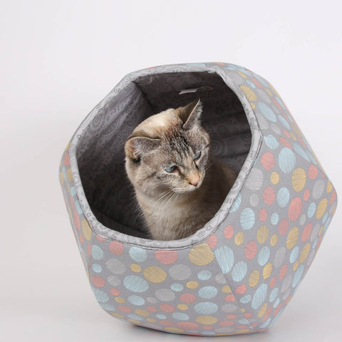 Grey Circles Cat Ball cat bed