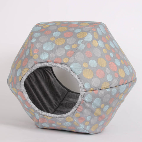 Grey Circles Cat Ball cat bed from the Lilly collection