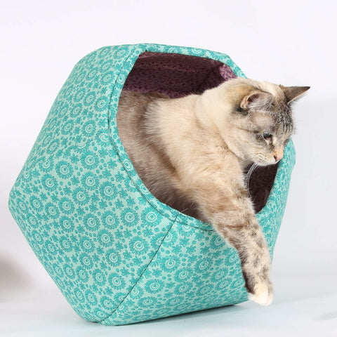 Teal Lace and Purple Cat Ball cat bed