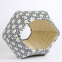 Navy Geometric Cat Ball cat bed with Woodlands Deer Toile Lining