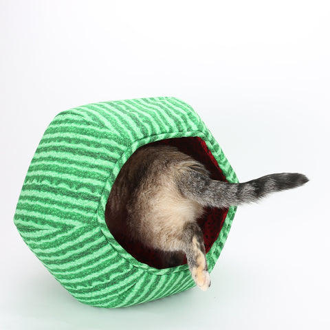 The Cat Ball® in fun watermelon fabrics. Our original modern cat bed design is hexagonal with two openings, offering a cave bed for your cat. Our Cat Ball® design is made in USA using high quality cotton fabrics and foam.