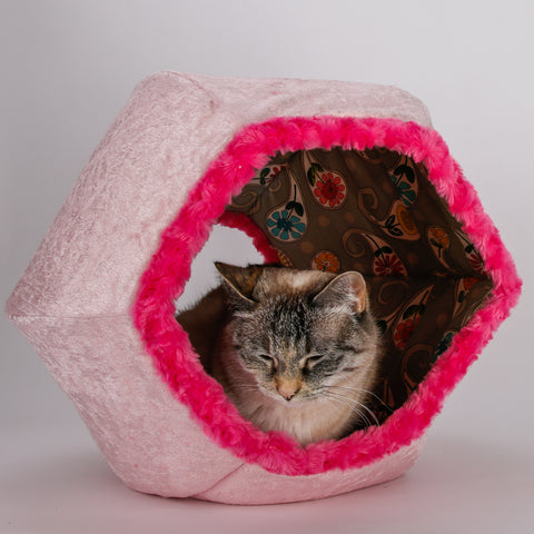 Pink Velvet Cat Ball cat bed with Paisley Lining and Hot Pink Fur Trim