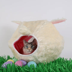 The Cat Ball made in fuzzy white fur for an Easter Bunny cat bed