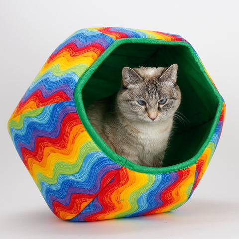 Cat Ball colorful cat napper bed in wavy striped rainbow fabric