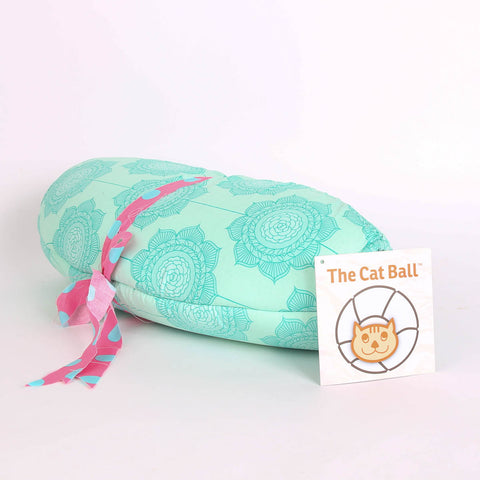 The CAT BALL modern cat bed in a teal Riley Blake fabric