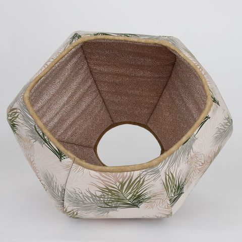 Cat Ball hexagonal pet bed made in a feather motif with neutral colors