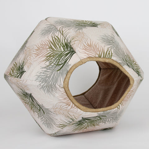 Cat Ball pet bed made in a feather motif with neutral colors
