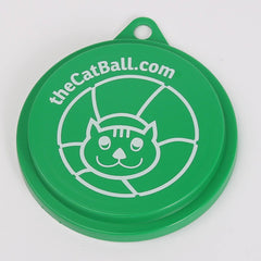 The Cat Ball logo on a reusable canned food lid