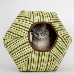 jumbo size Cat Ball cat bed in green stripes fabric