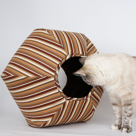 jumbo size Cat Ball cat bed in brown stripes fabric
