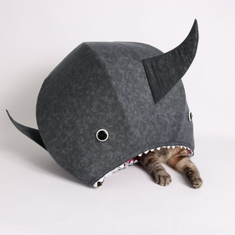 The great white shark Cat Ball cat bed is a shark pet bed for cats with a sense of humor