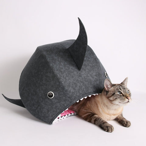 Feed your cat to the apex predator of the living room with the great white shark Cat Ball cat bed. a shark pet bed for cats with a sense of humor
