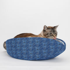 Cat Canoe Modern Cat Bed in Metallic Silver and Blue Flower Fabric