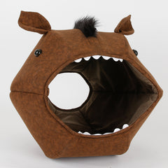 Novelty Horse Cat Ball Cat Bed made to look like a bay color horse