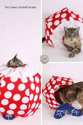 The Clown Cat Ball is a funny bed for your cat. This novelty pet bed was made in the USA.
