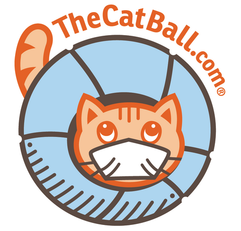 Cat Ball temporary pandemic logo with face mask